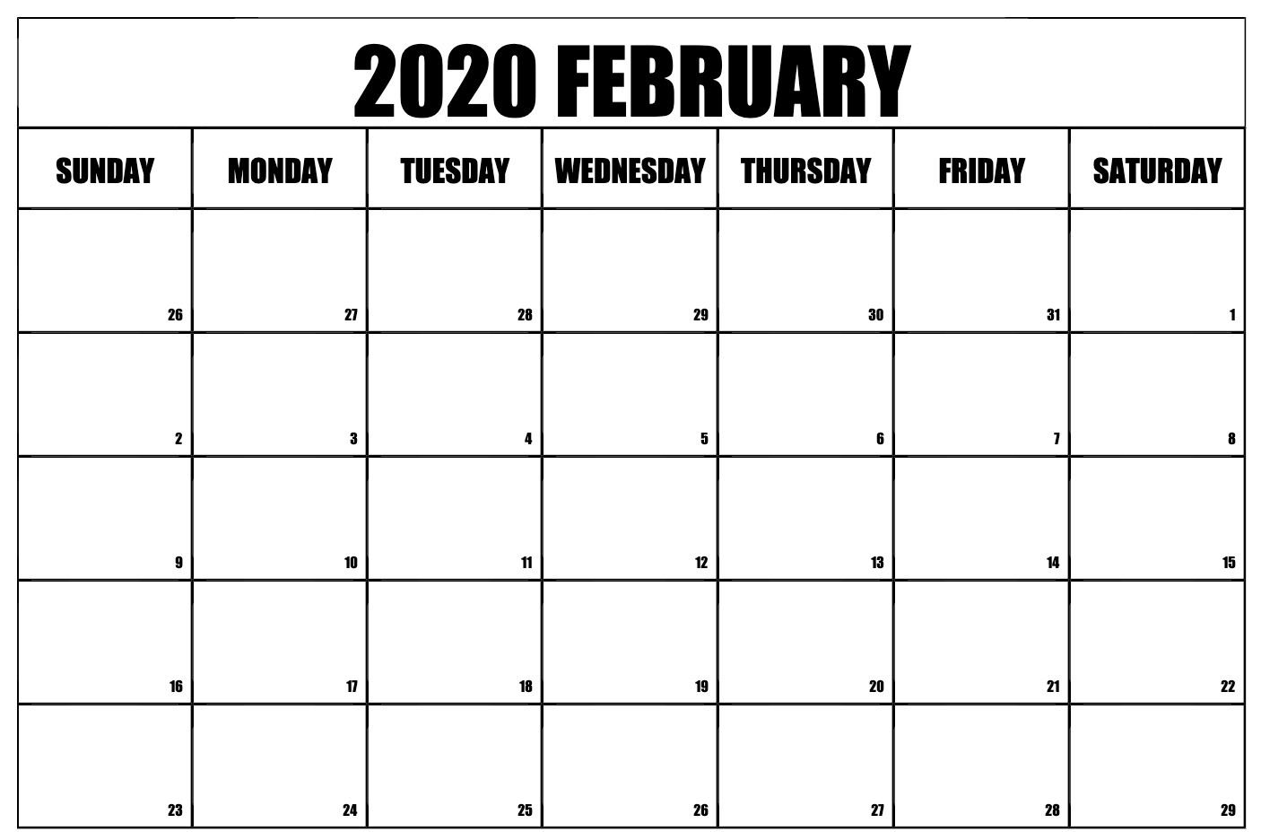 graphic about Printable Feb. Calendar named February 2020 Calendar Printable Template inside of pdf, term, excel