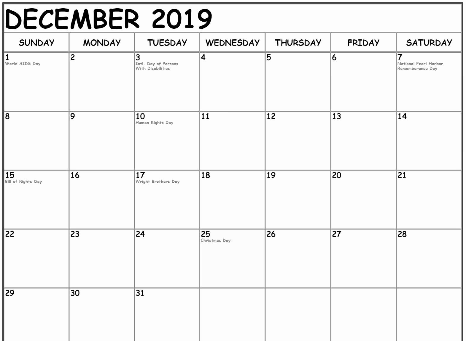 December 2019 Calendar With Holidays Canada