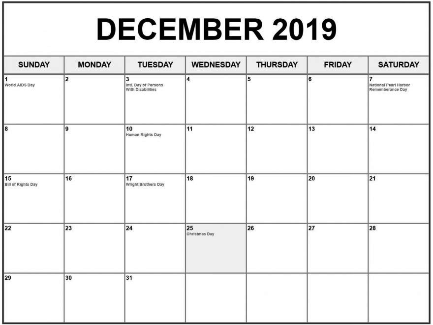 December 2019 Calendar With Holidays Desk