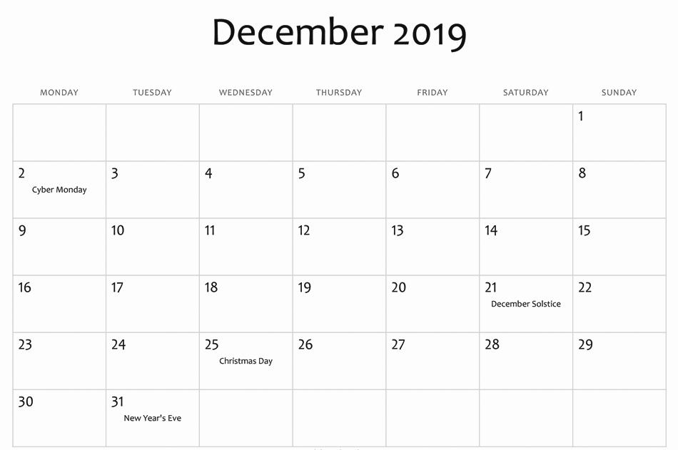 December 2019 Calendar With Holidays UK