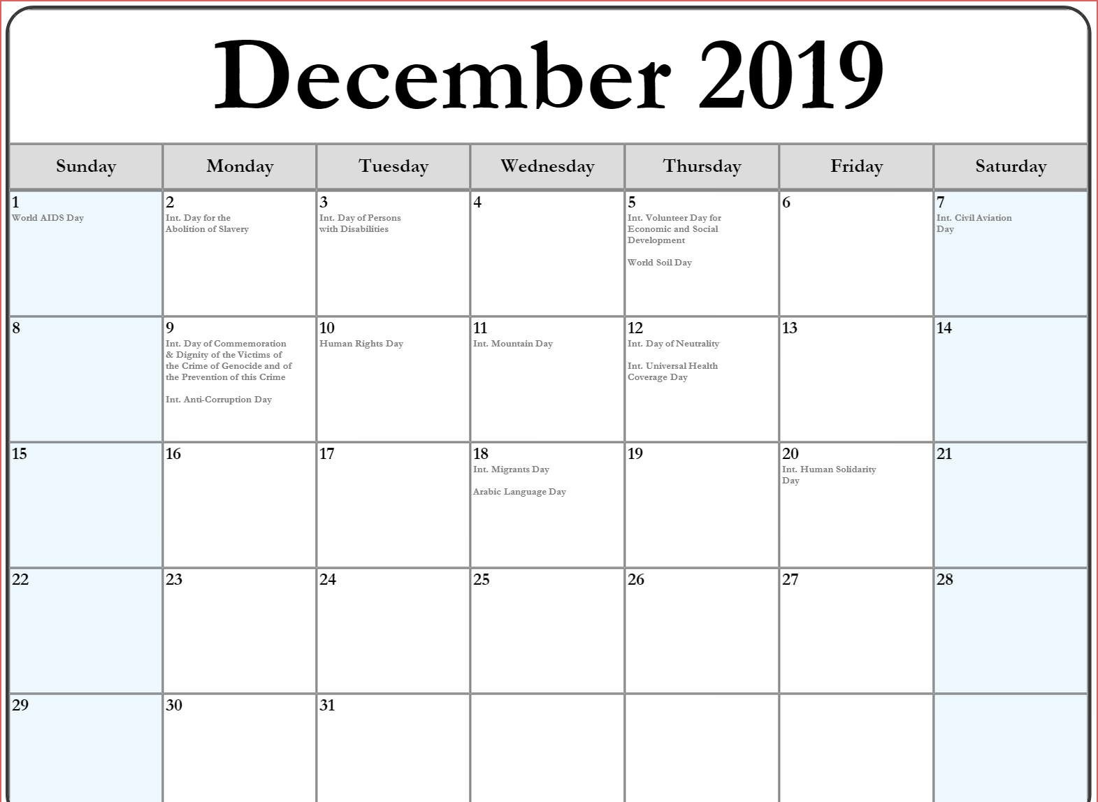 December 2019 Calendar With Holidays US