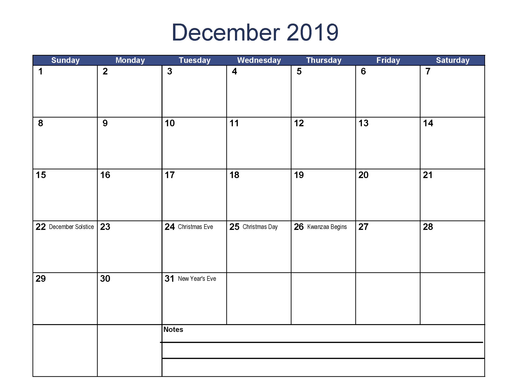 December 2019 Calendar With Holidays Word