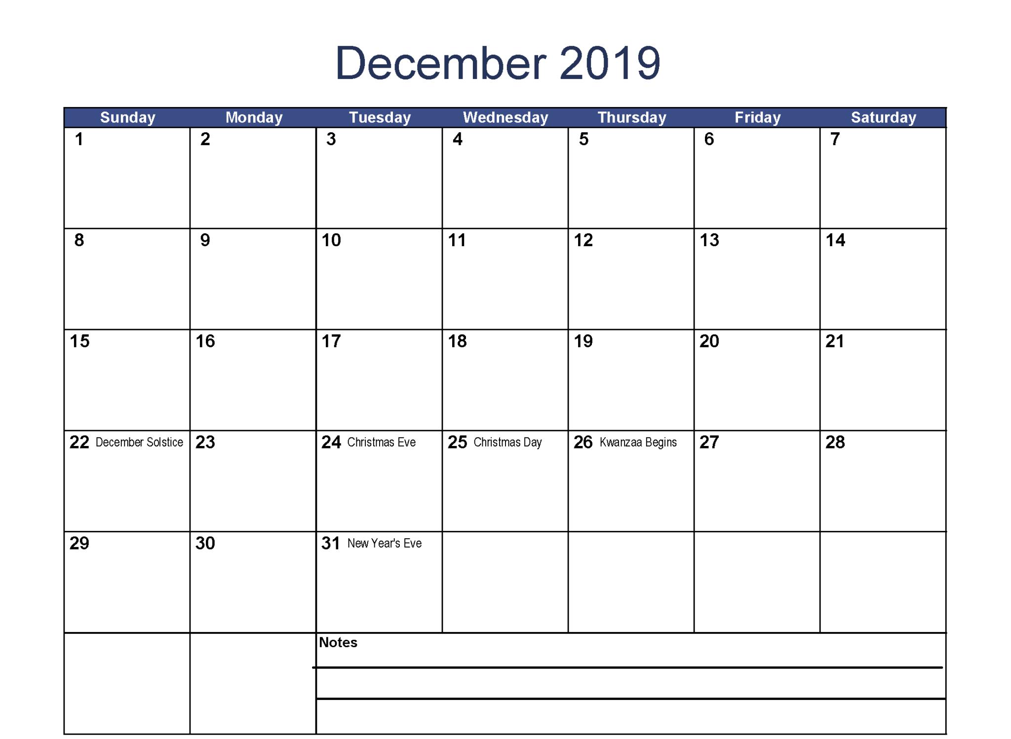 December 2019 Calendar With Holidays Word