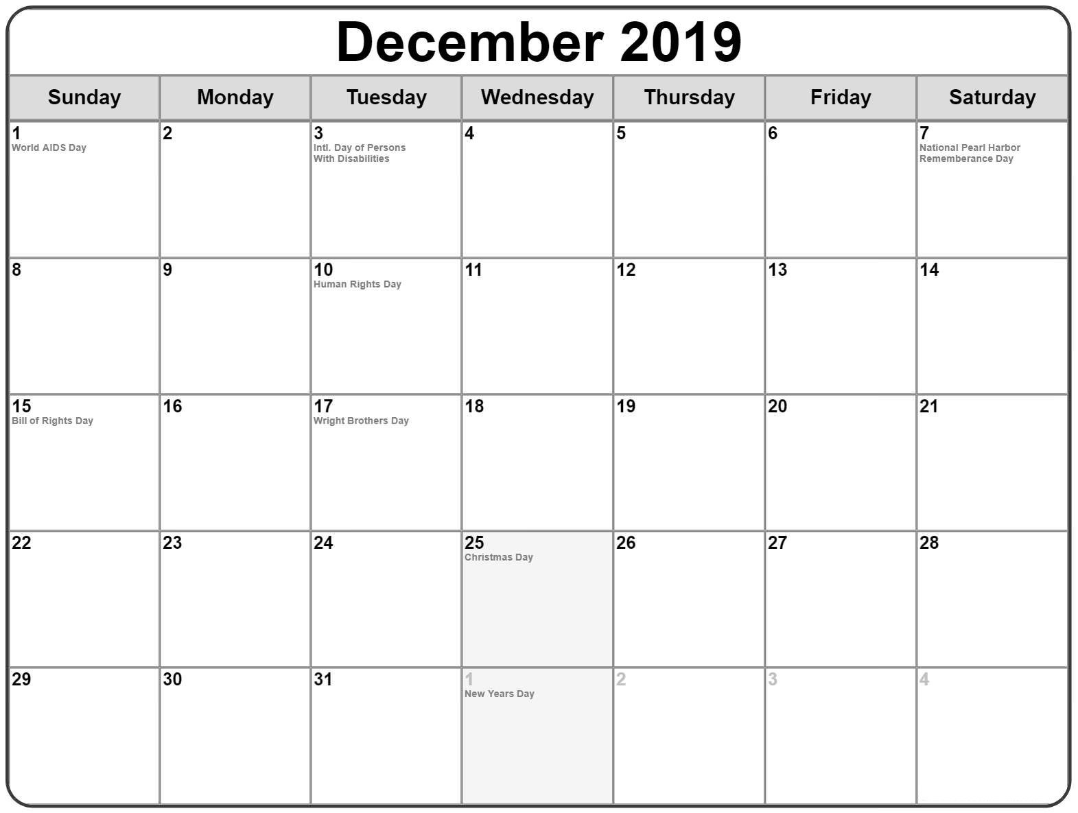 December 2019 Printable Calendar with Holidays