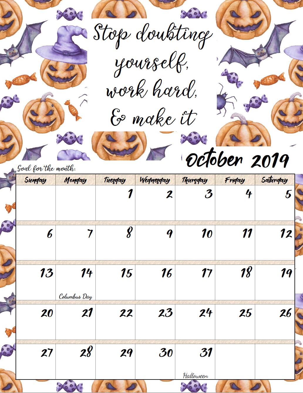 Decorative Floral October 2019 Wall Calendar