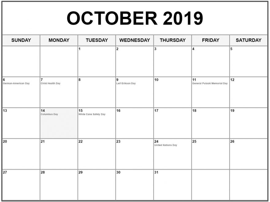 Editable October 2019 Calendar With Holidays