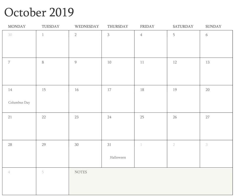 Editable October Calendar 2019