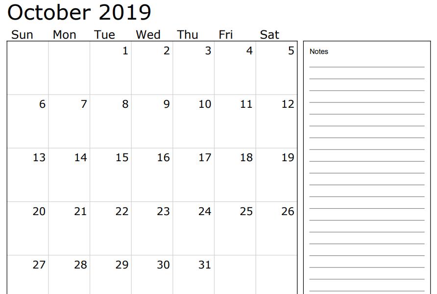 Fillable 2019 October Calendar