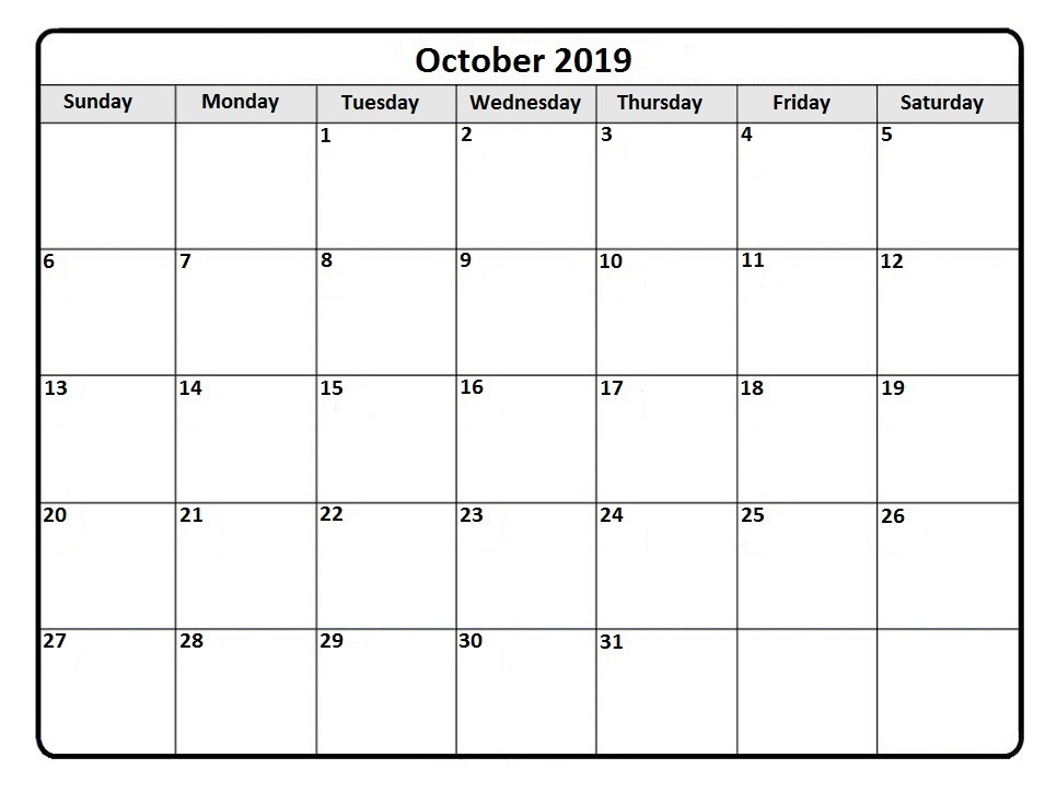 Fillable Calendar For October 2019 Printable Template