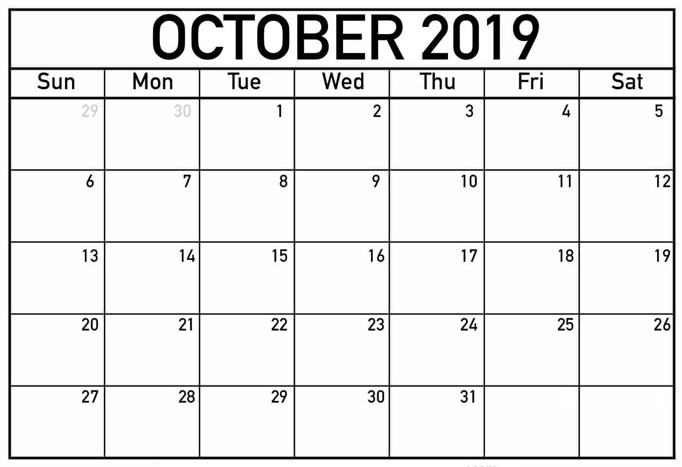 Fillable Calendar for October 2019 Printable Template