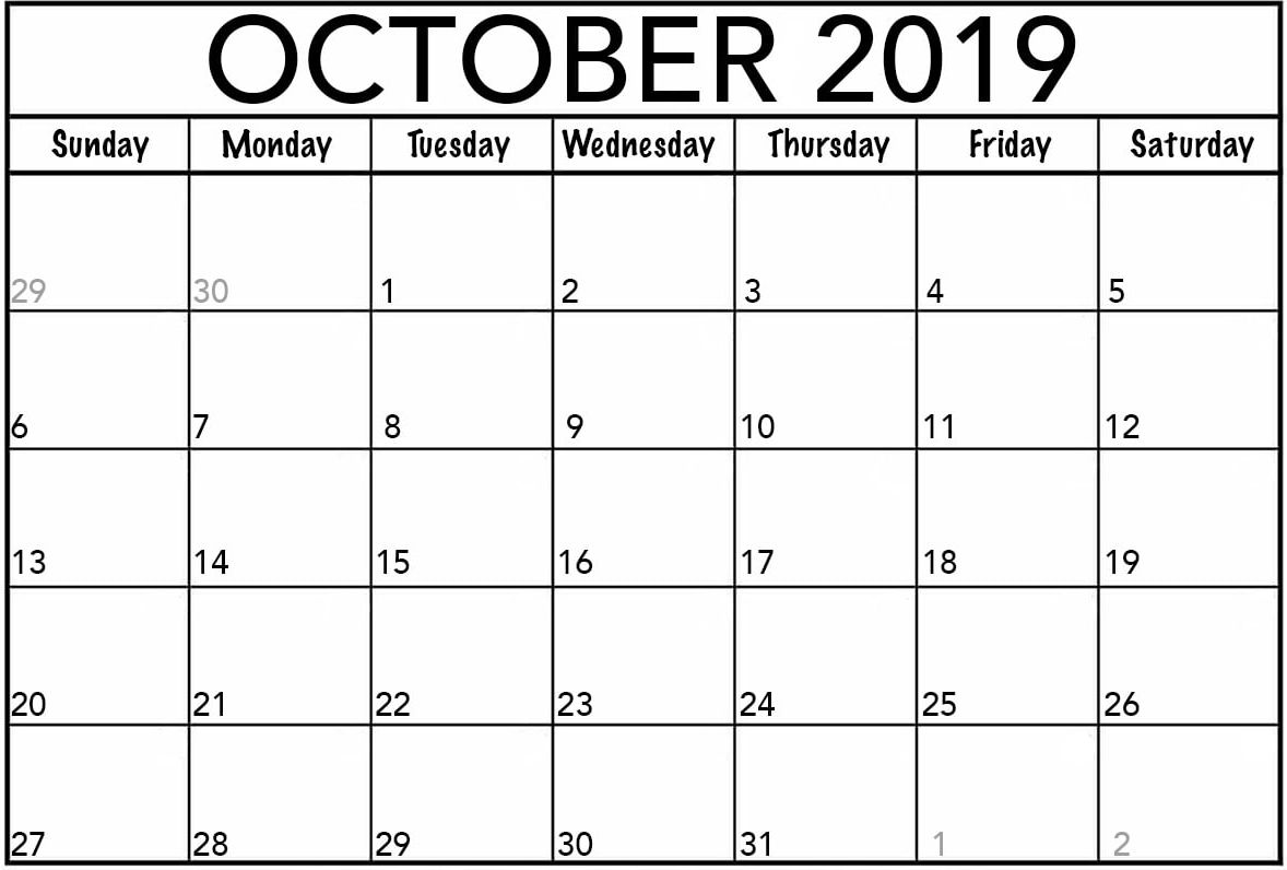 Fillable Calendar for October 2019