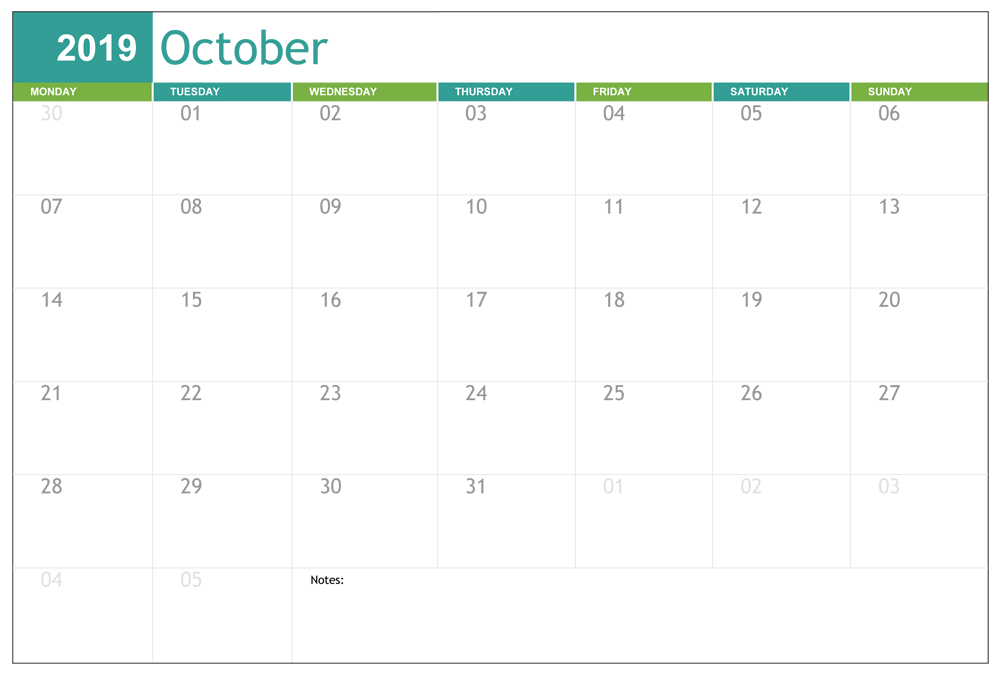 Fillable October 2019 Calendar Template