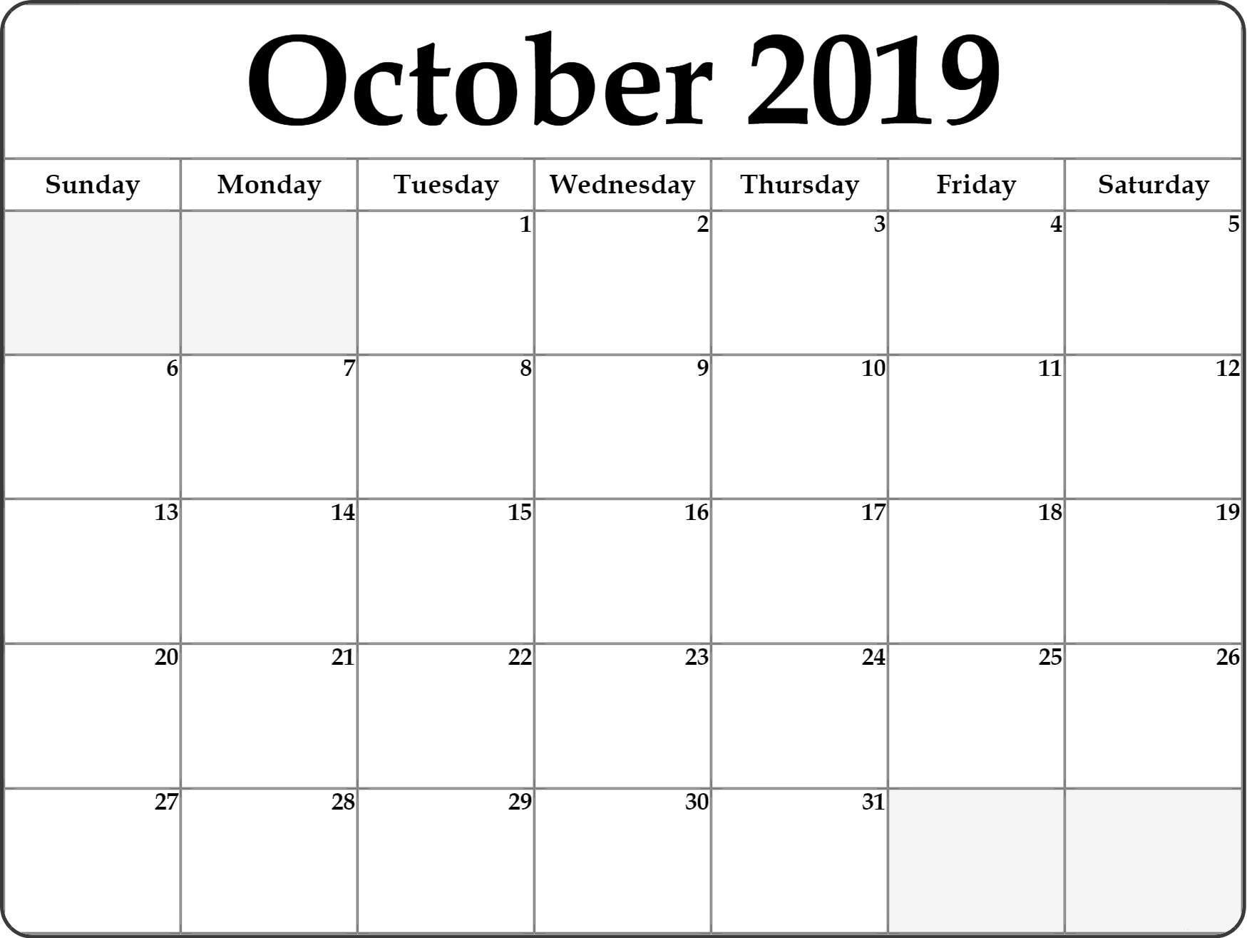 Fillable October 2019 Printable Calendar Blank