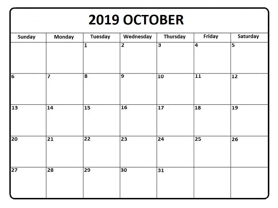 Fillable October 2019 Printable Calendar Template