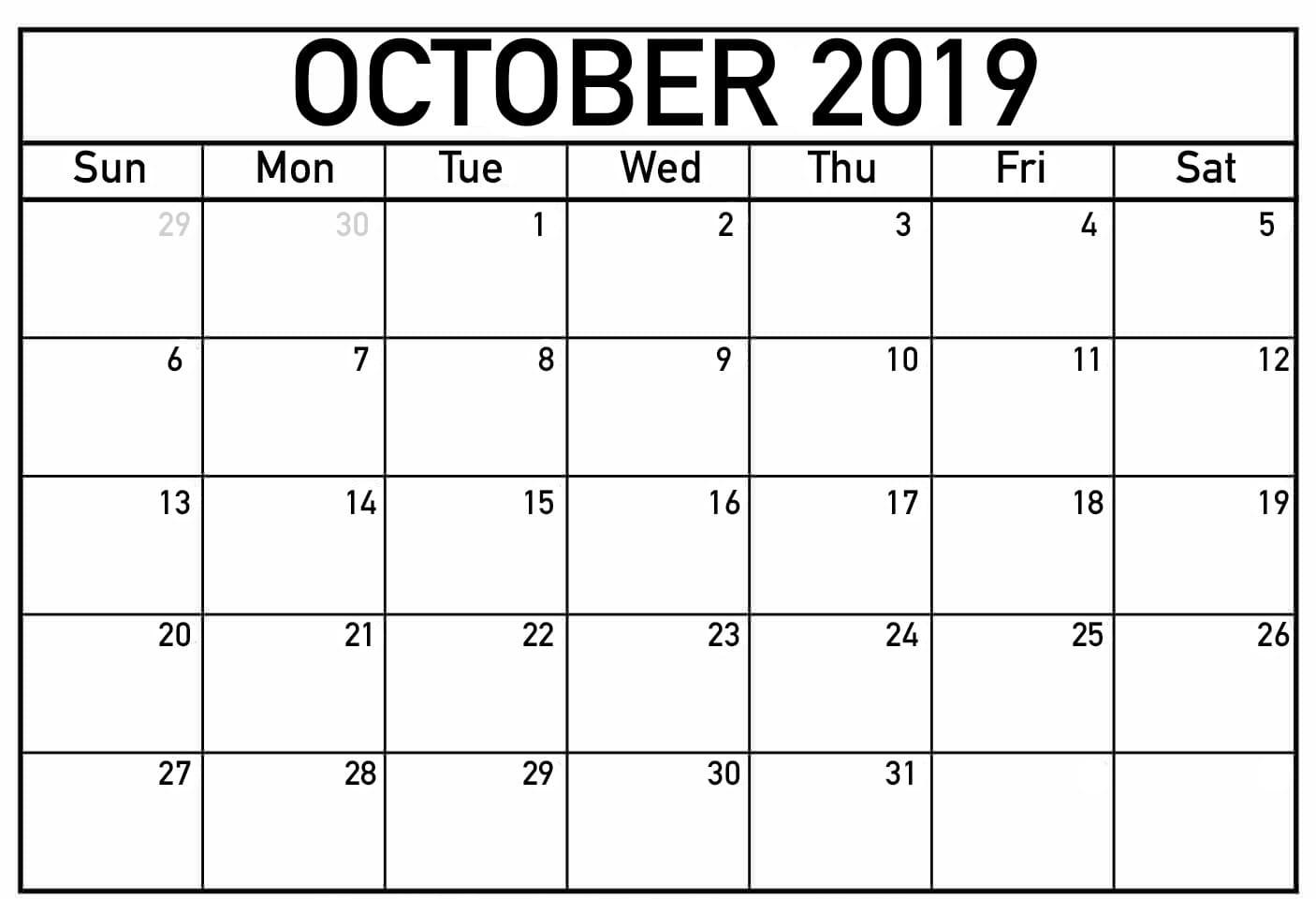 Fillable October Calendar 2019 Printable