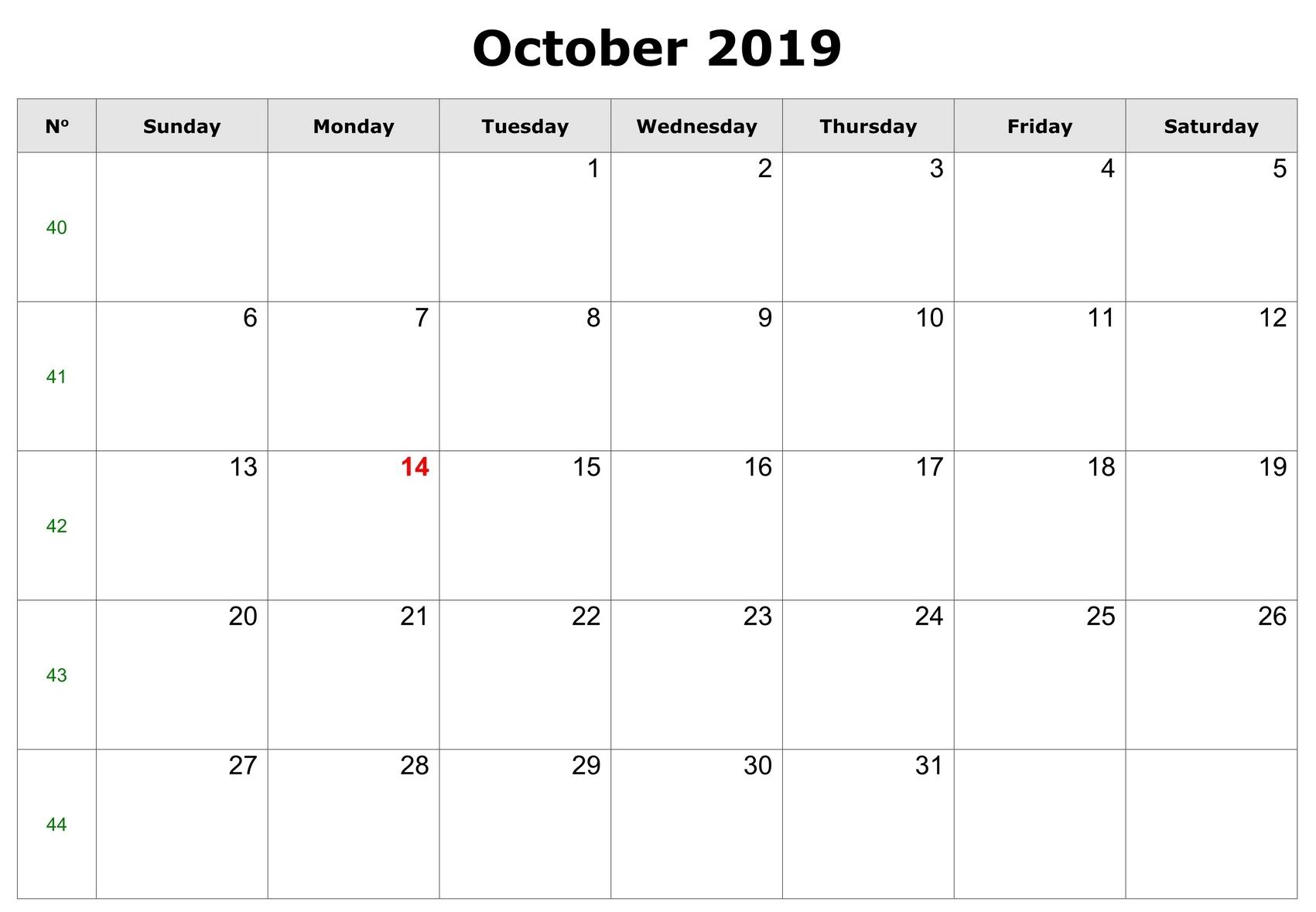 Fillable October Calendar 2019