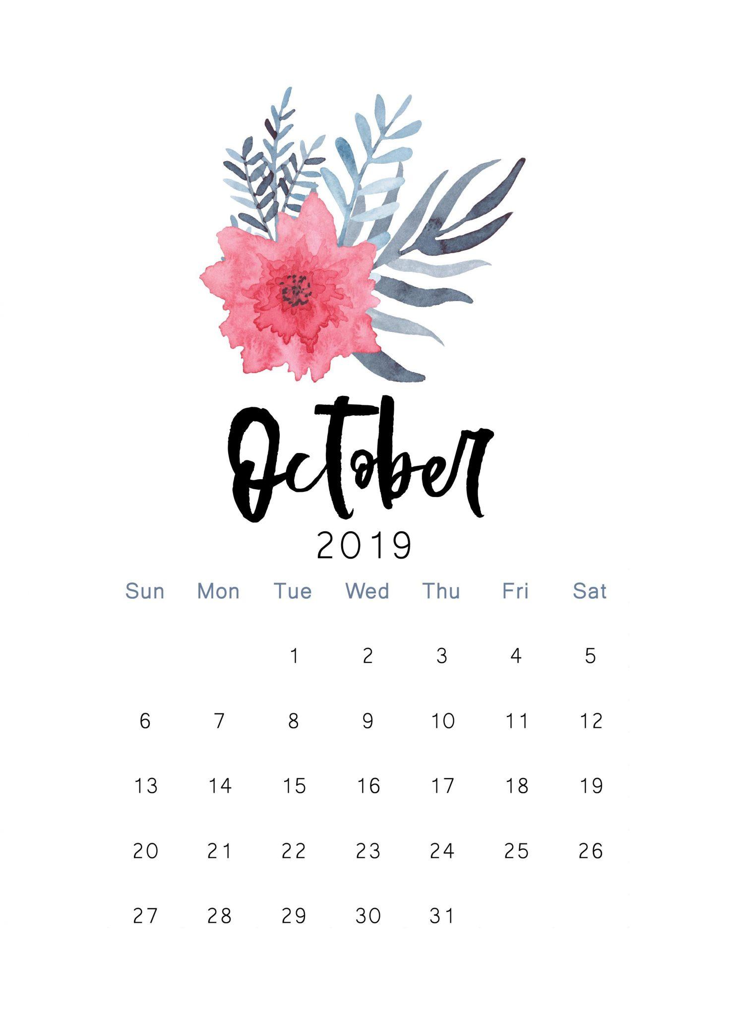 Floral October 2019 Wall Calendar