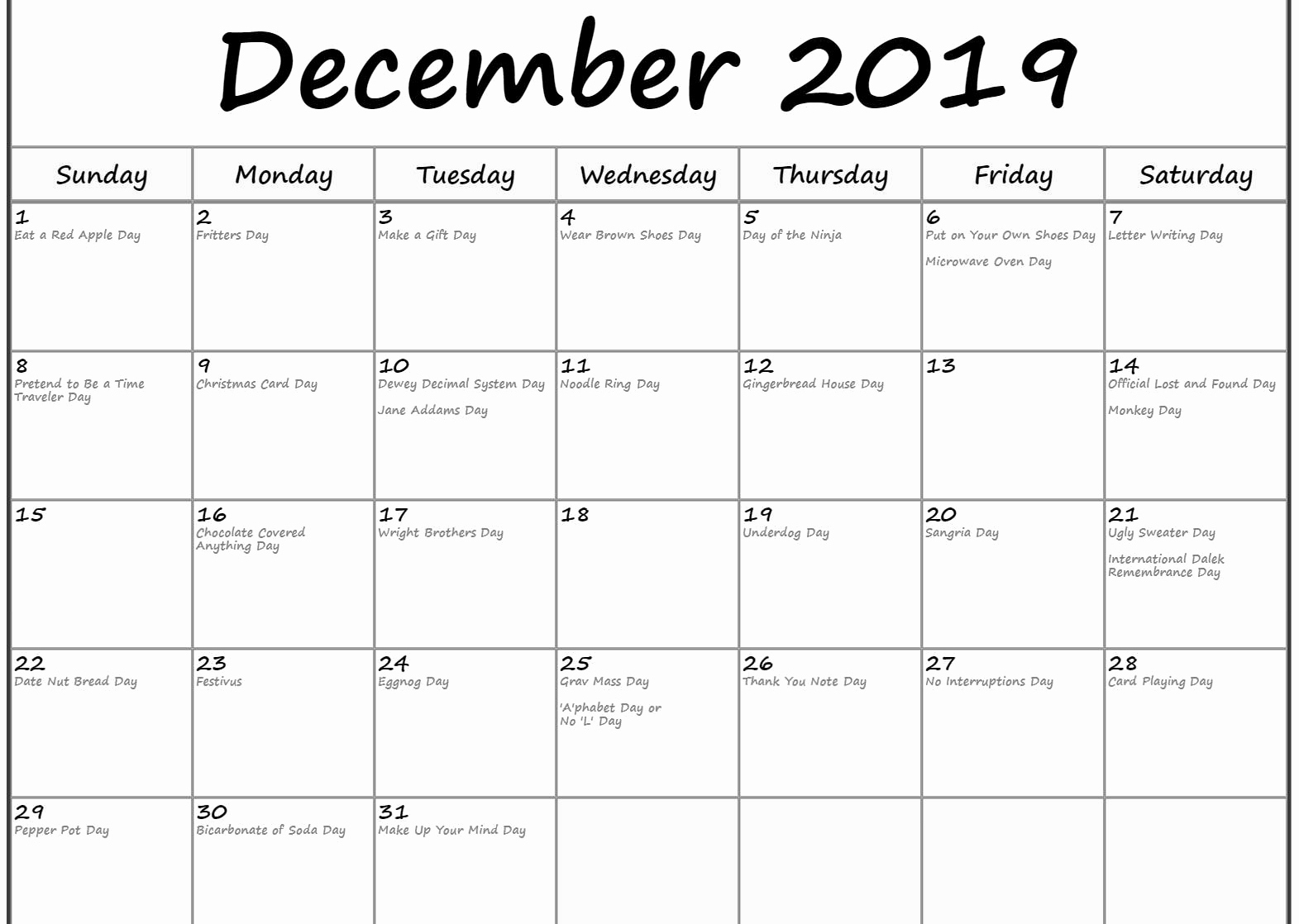 Holidays Calendar for December 2019