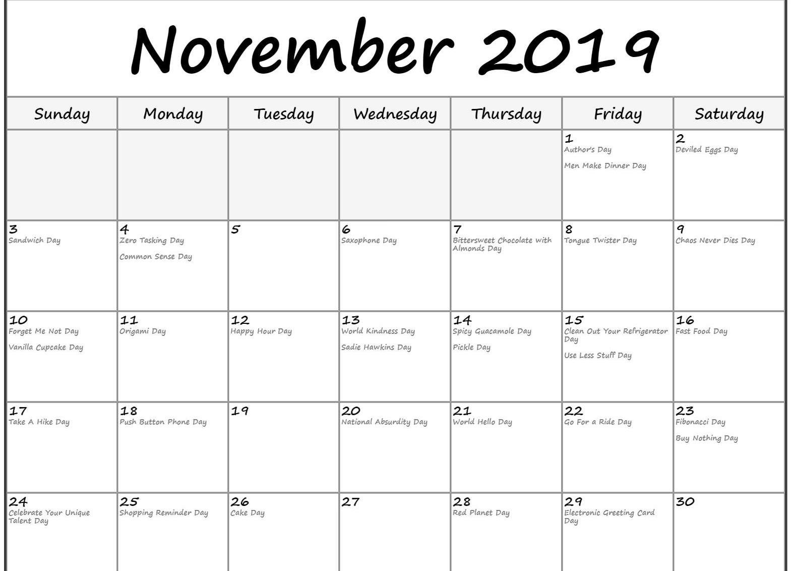 Holidays Calendar for November 2019