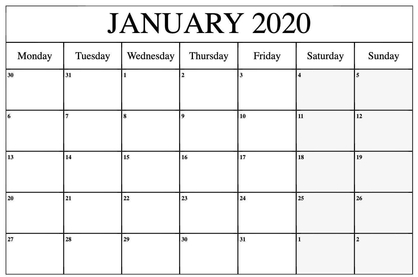 January 2020 Calendar Printable Monday