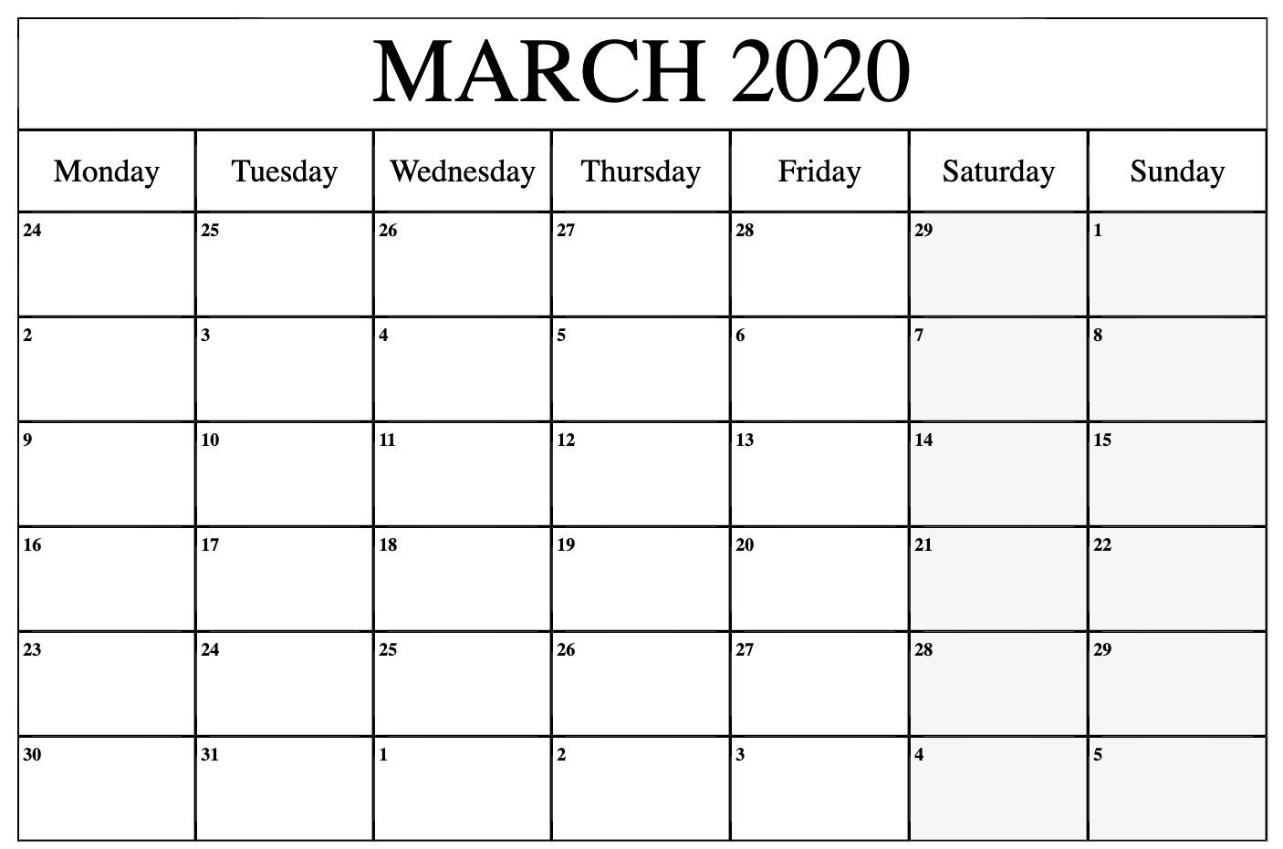 March 2020 Calendar PDF