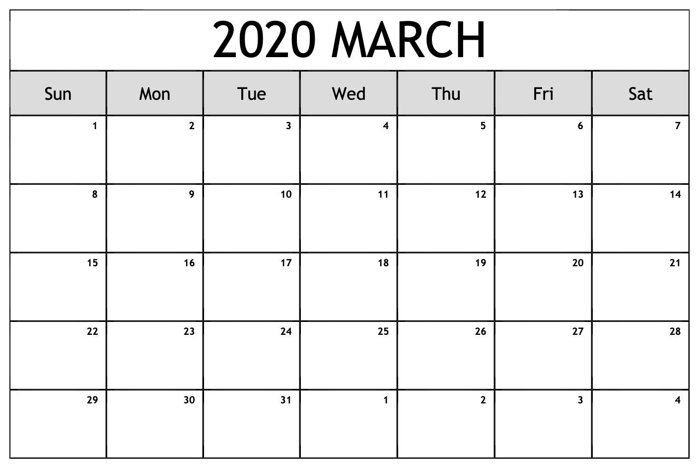 March 2020 Calendar Word