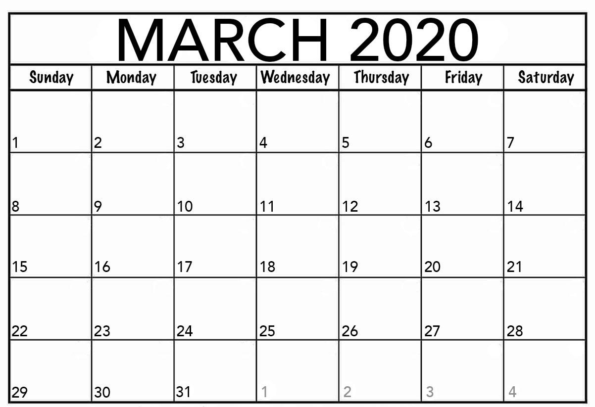 March 2020 Calendar