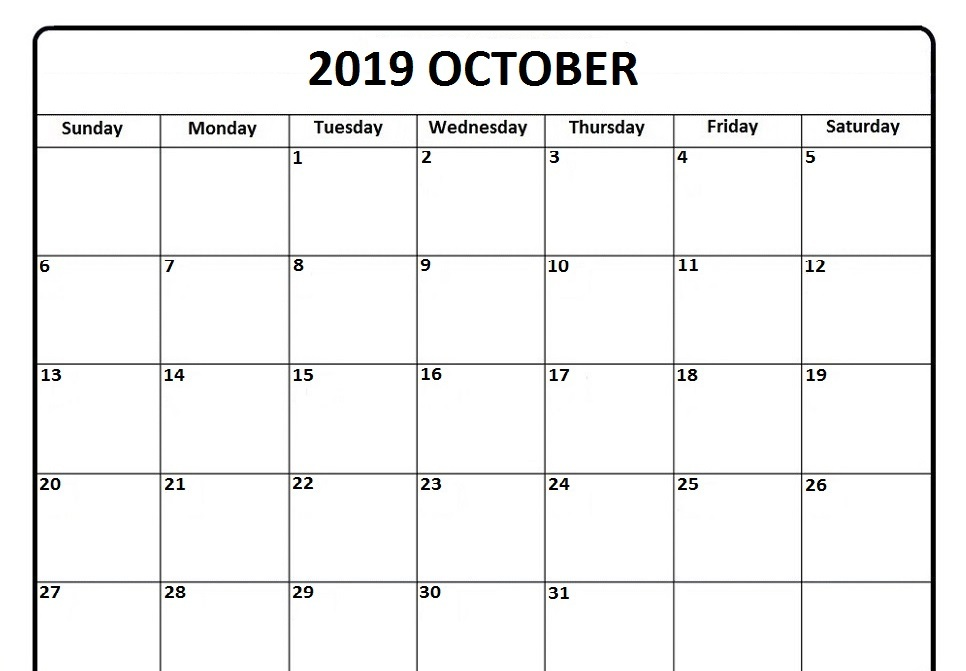 Moon Phases Calendar for October 2019