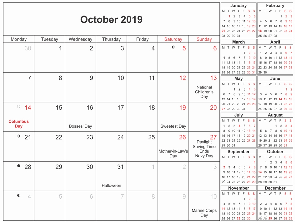 October 2019 Calendar Moon Phases