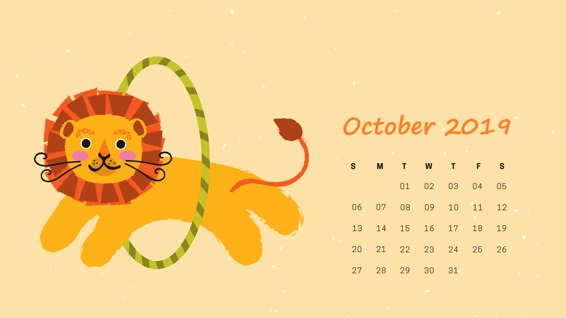 October Calendar 2019 Wallpaper