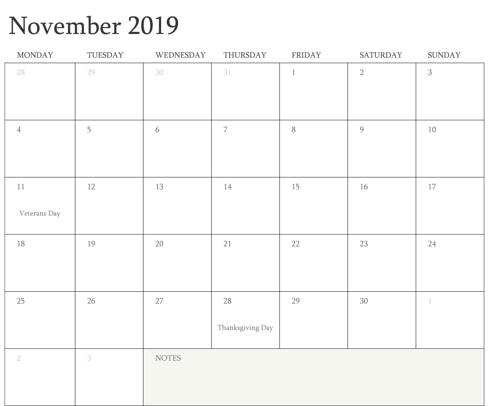 Printable November Holidays 2019 Calendar Template