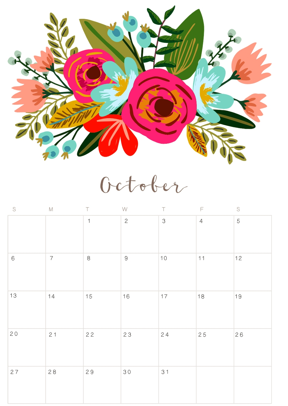 Printable October Floral Calendar 2019