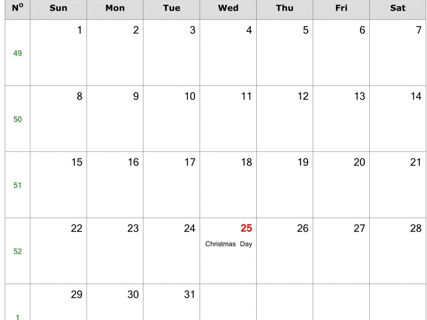 2019 Calendar December Excel Templates