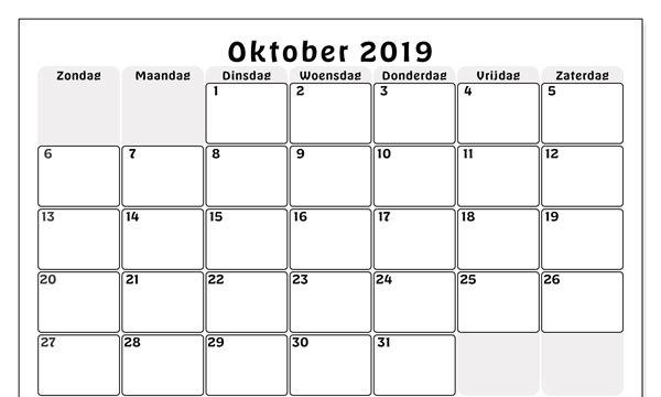 2019 Oktober Kalender