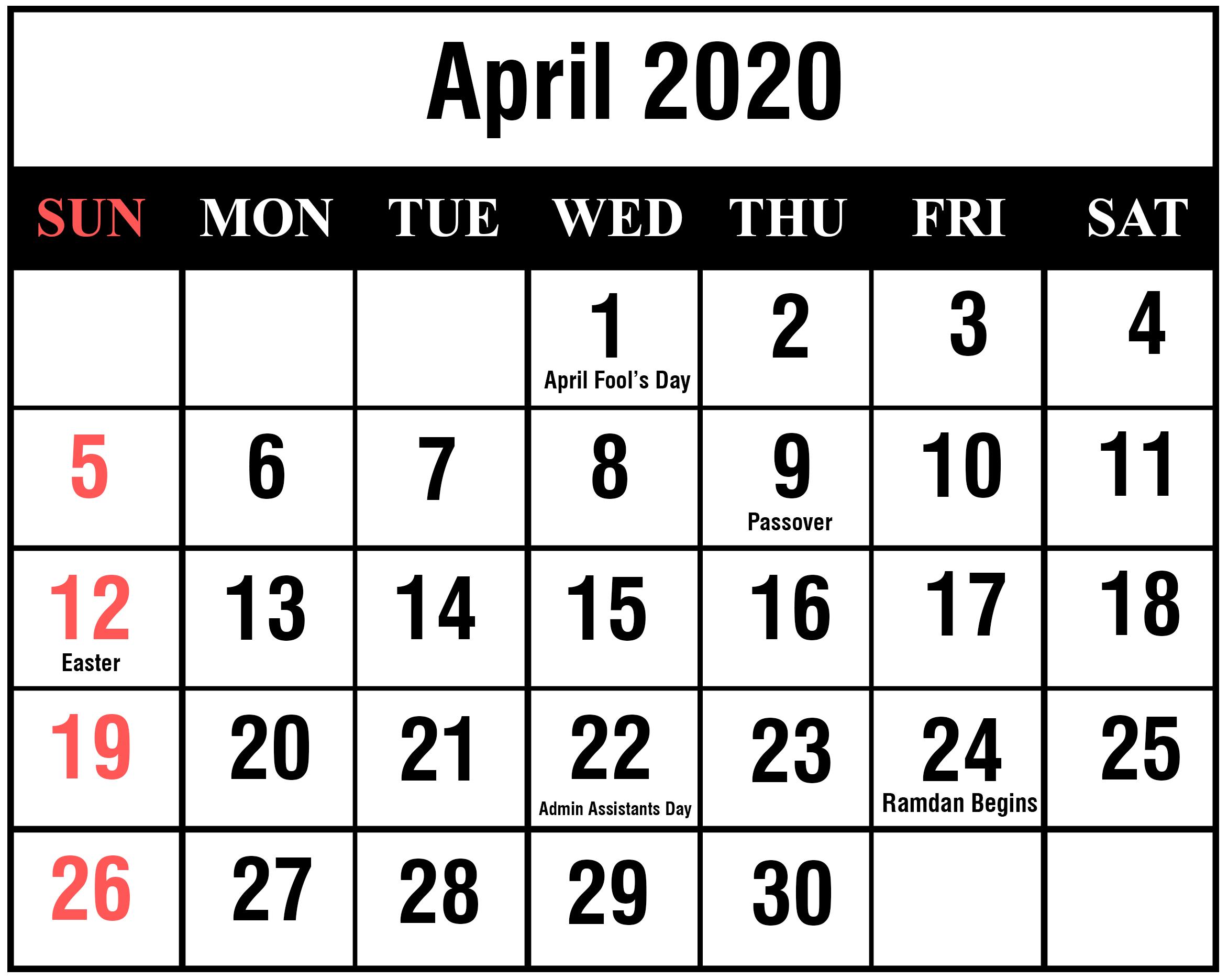 April 2020 Calendar PDF