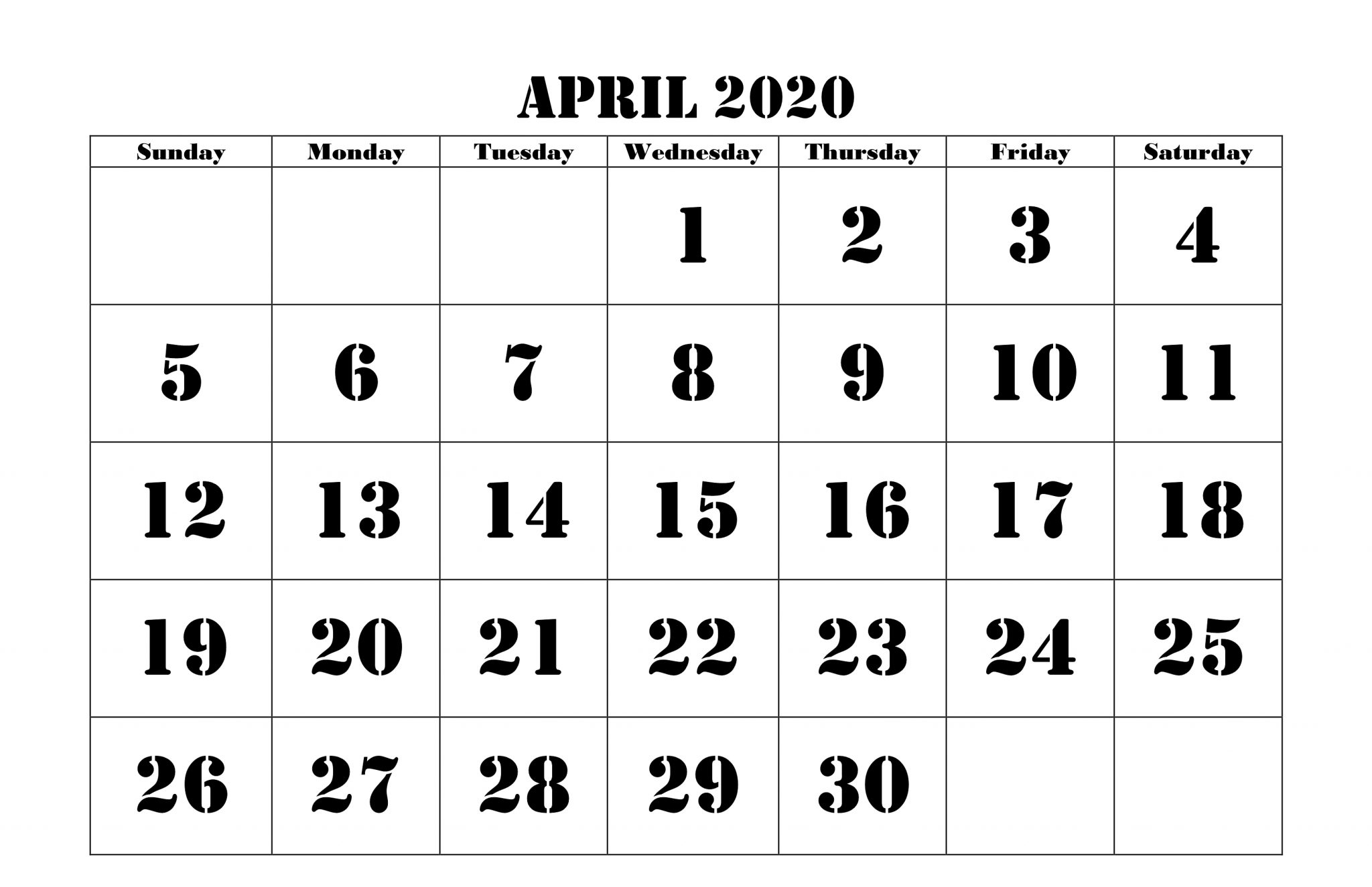 April 2020 Fillable Calendar