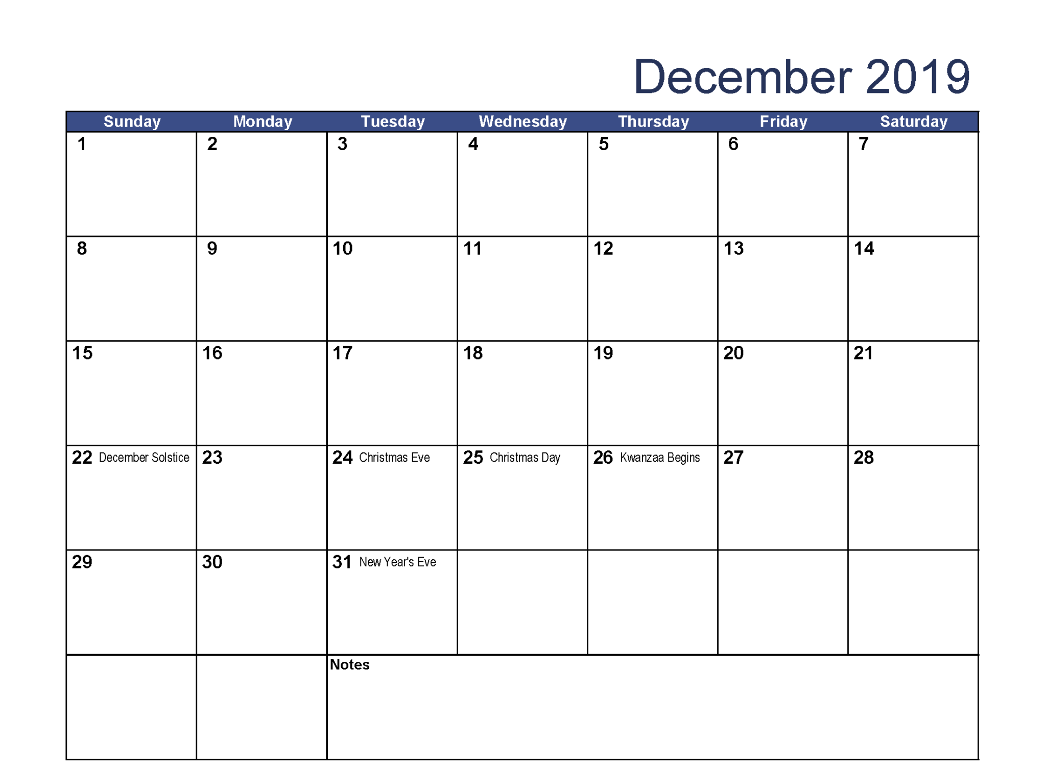 Blank Fillable December 2019 Calendar
