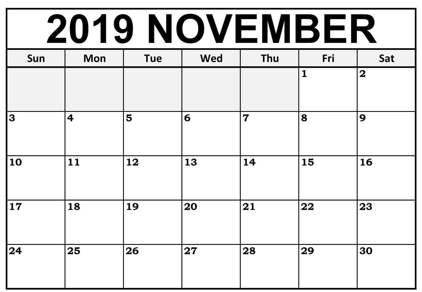 Blank November 2019 Calendar Editable