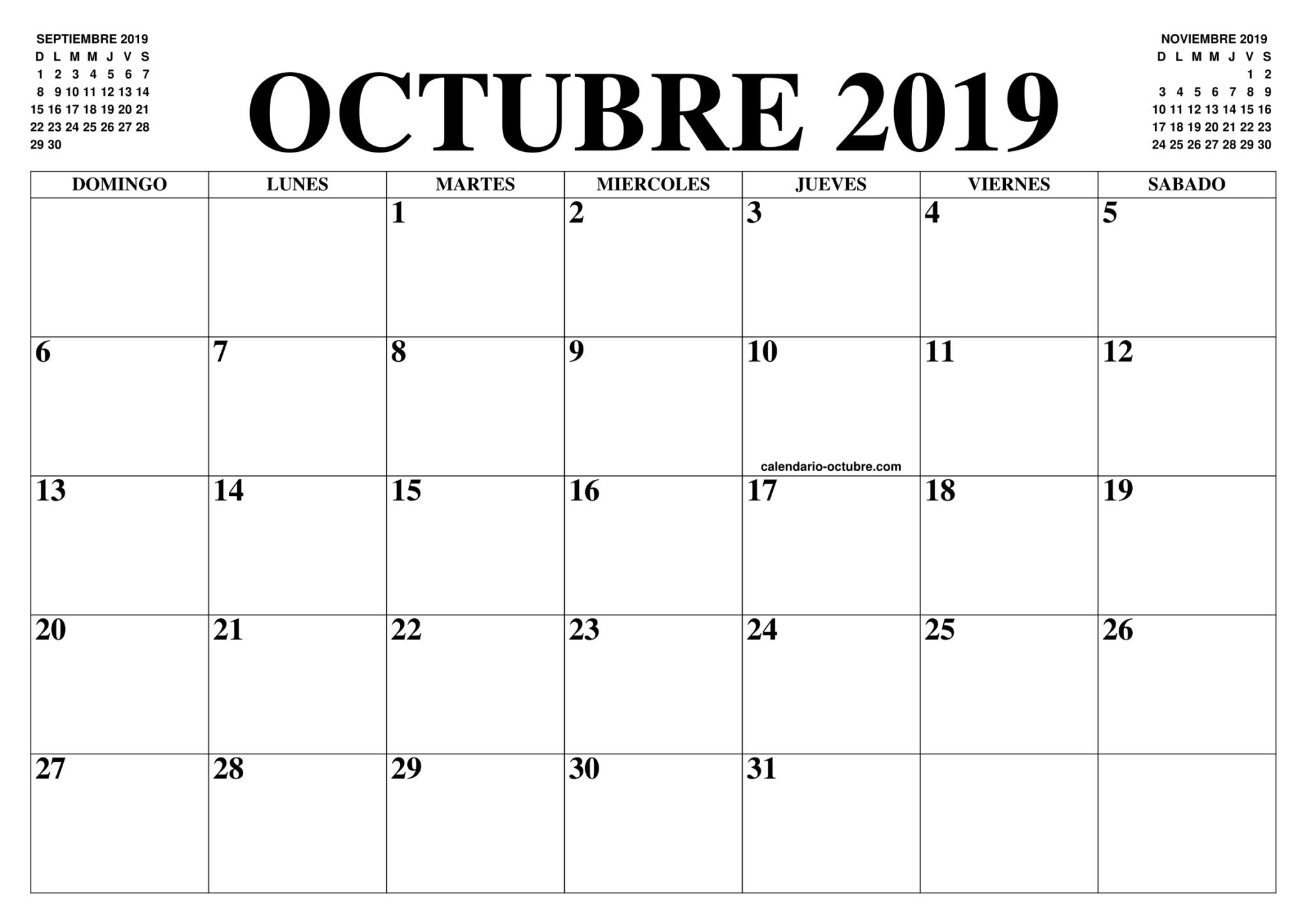 Calendario de octubre de 2019 en blanco