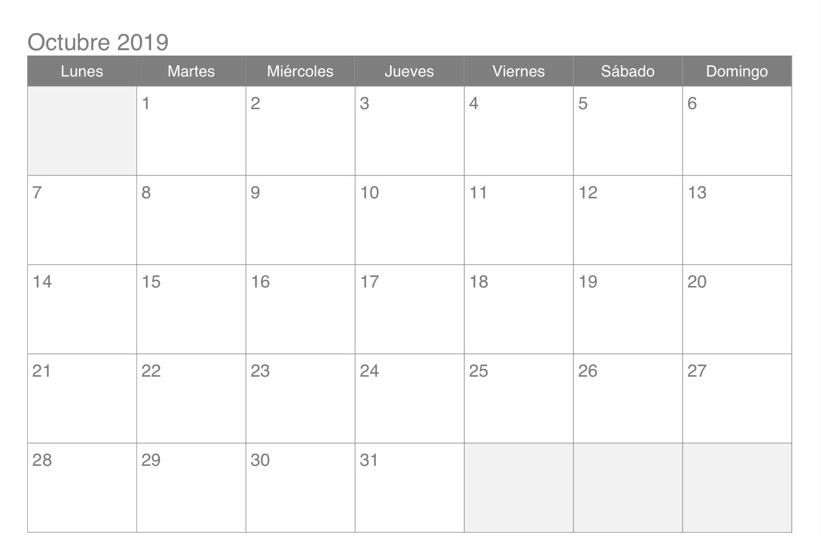 Calendario de octubre de 2019 imprimible