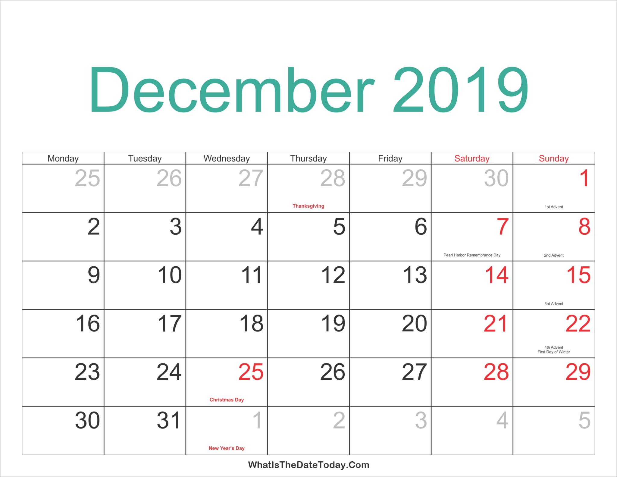 December 2019 Printable Blank Calendar