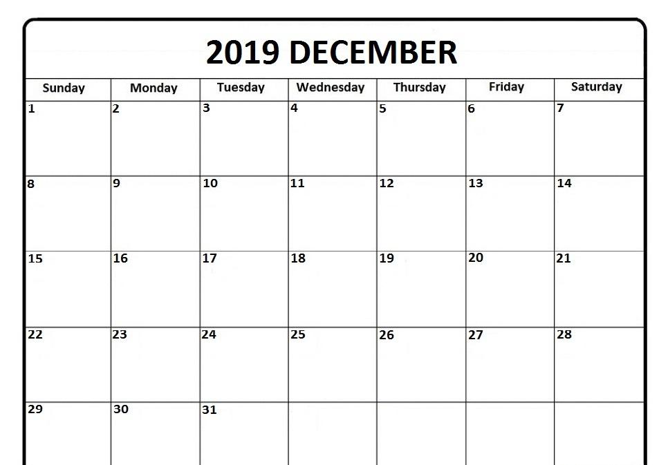December Printable Calendar 2019 Editable