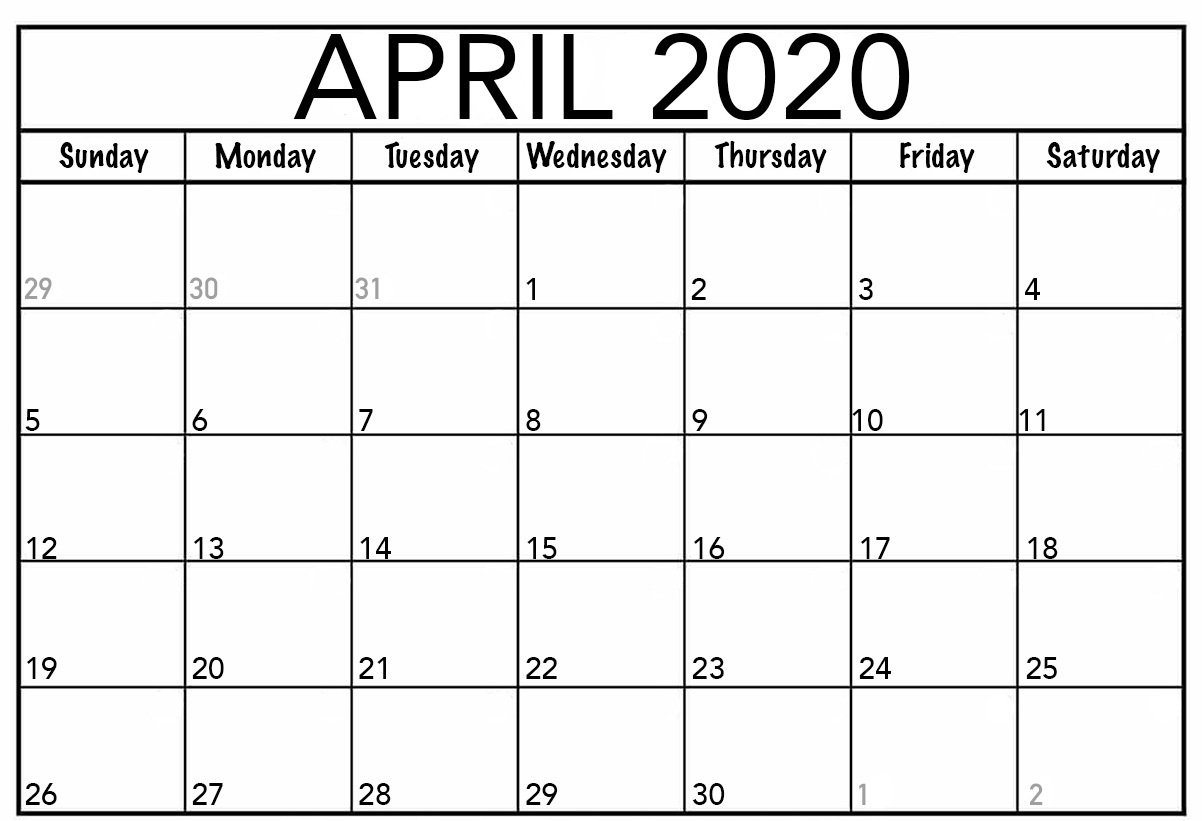 Editable April Fillable Calendar 2020