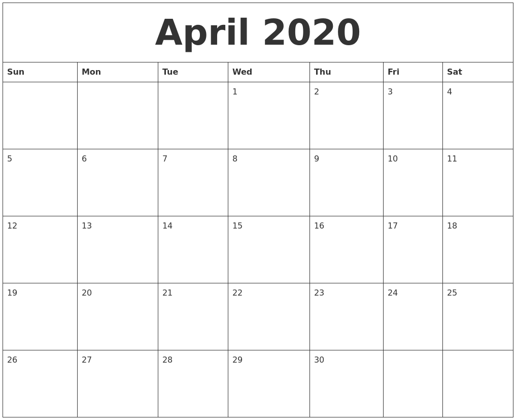 Fillable April 2020 Calendar Blank Template