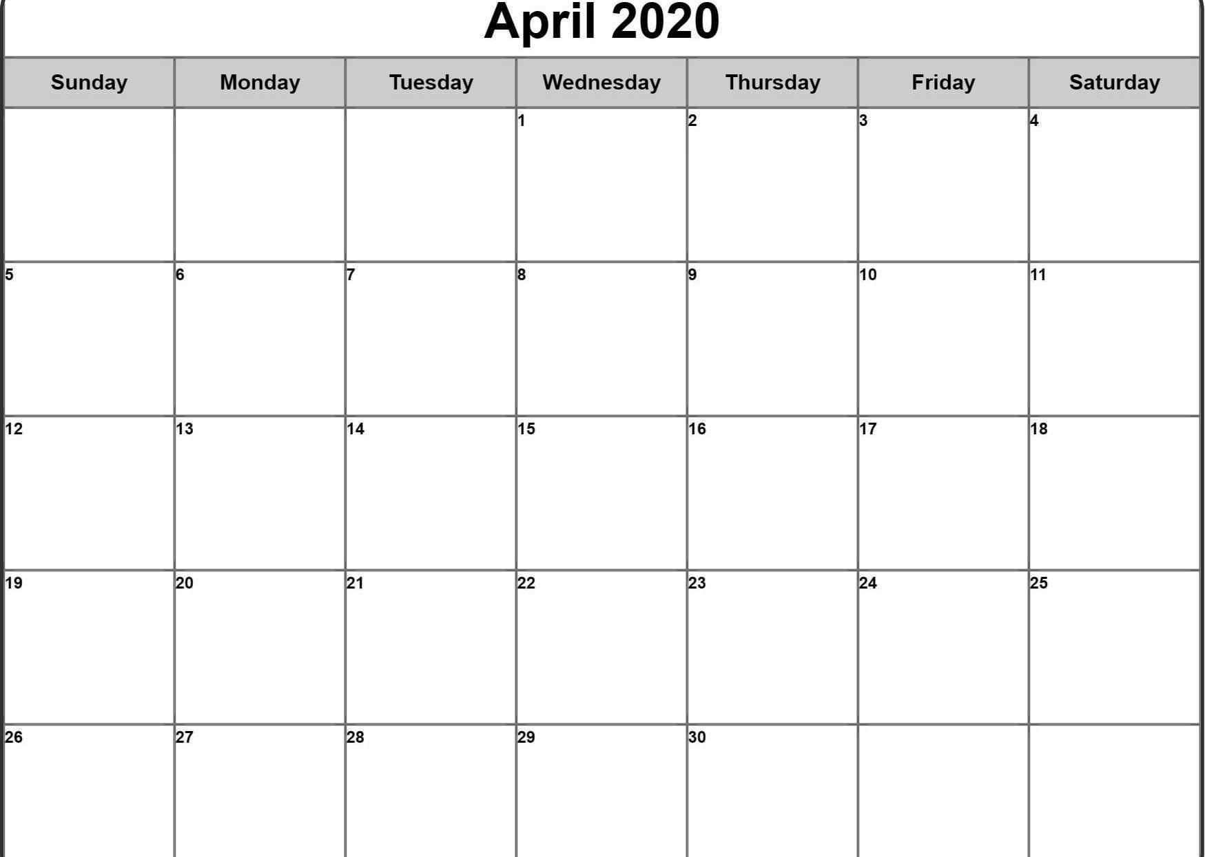 Fillable April 2020 Calendar