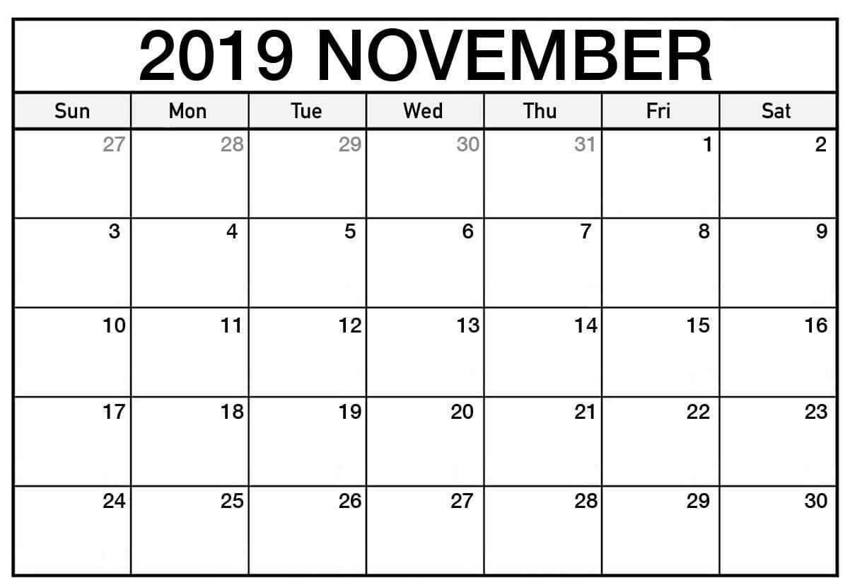 Free Printable November Calendar 2019 Editable