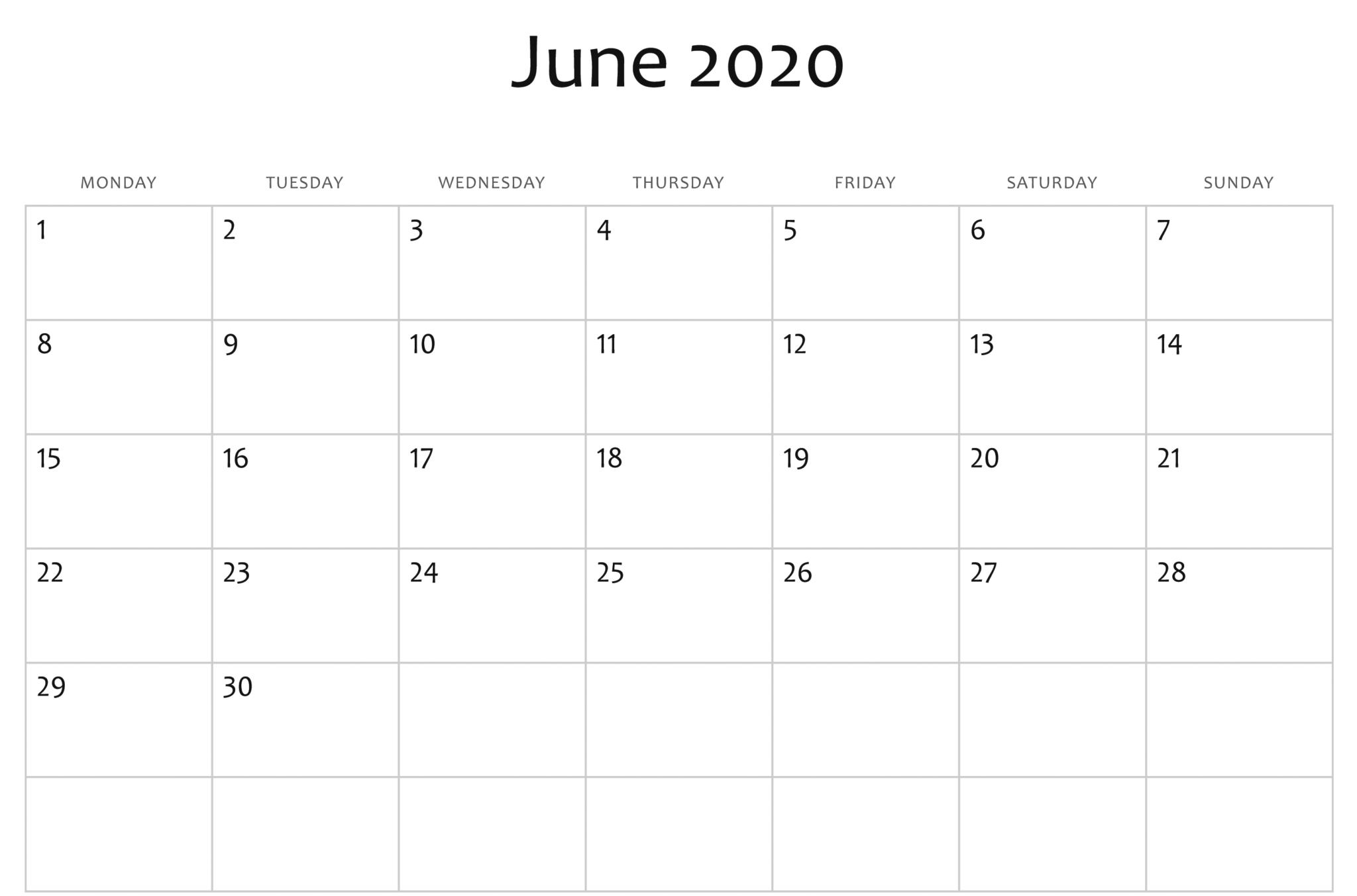 June 2020 Calendar Word