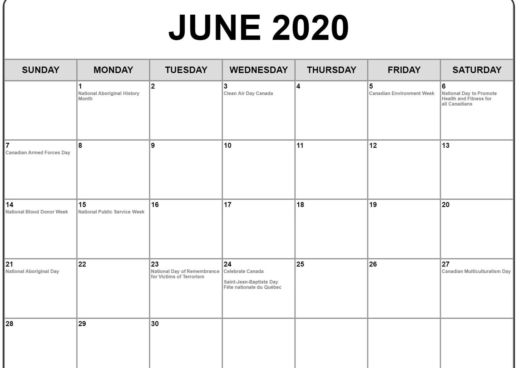 Events Happening In June 2020.June 2020 Calendar Printable Blank Template Pdf Word Excel