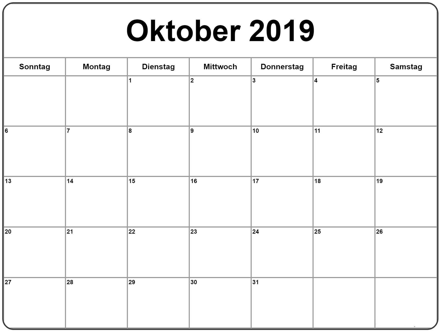 Kalender Oktober 2019
