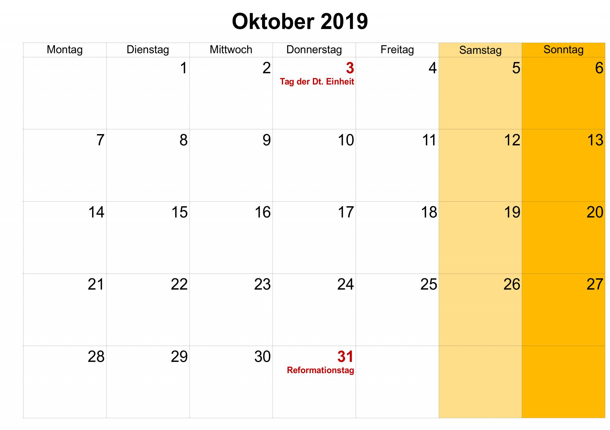 Leerer Kalender Oktober 2019